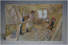 Arbete i snickarboden av Carl Larsson Skrivet äldre vykort