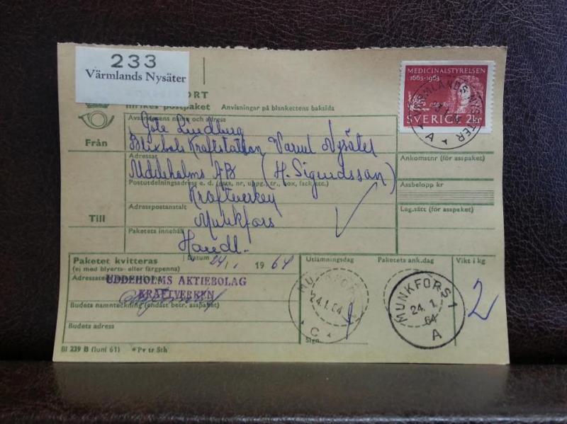 Frimärken  på adresskort - stämplat 1964 - Värmlands Nysäter - Munkfors 1