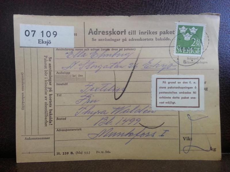 Frimärken på adresskort - stämplat 1964 - Eksjö - Munkfors 1