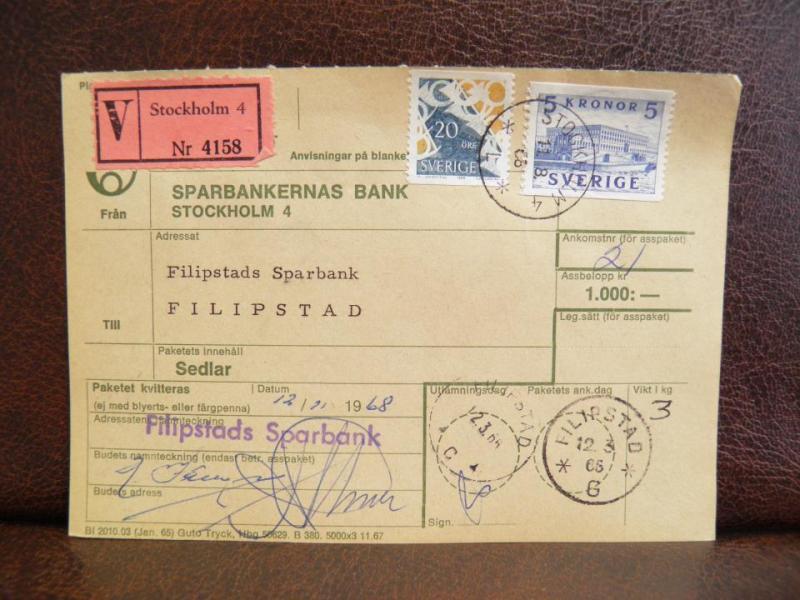 Frimärken  på adresskort - stämplat 1968 - Stockholm 4 - Filipstad